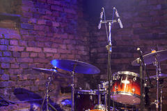 Drum Kit and Microphone on stage Stock Photography