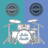 Drum Kit n Instructor - Performer Stamps. Vector Illustration of a Drum Kit and Seals for Instructors and Performers. All element neatly on well-defined layers royalty free illustration