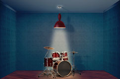 Drum kit. A Red drum kit On A empty room Stock Photography
