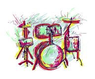 Drum kit with splashes in watercolor style. Colorful hand drawn vector illustration royalty free illustration