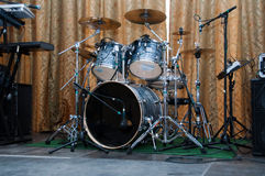 Drum kit on a stage. Ready for the concert Stock Photos