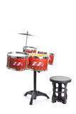 Drum kit toy isolated on white background Royalty Free Stock Photos