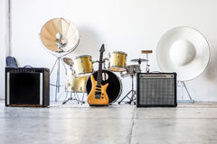 Drum kit with two bass drums Royalty Free Stock Photography