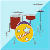 Drum kit on a two-tone background Royalty Free Stock Photography
