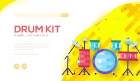 Drum kit vector landing page template with text space. Music instruments Internet shop cartoon website homepage. Professional equipment for drummers online stock illustration