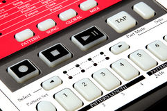Drum Machine Closeup. Closeup of Drum Machin with buttons and other musical terms Royalty Free Stock Images
