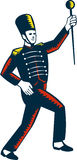 Drum Major Marching Band Leader Woodcut Royalty Free Stock Photos