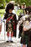 Drum Major Prepares To Lead Bagpipes Group At Festival Royalty Free Stock Photo