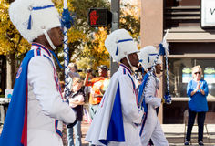 Drum Majors in 2015 Vetrans Day Parade. Ramsey High School drum majors in 2015 Vetrans Day parade with bystanders watching Stock Images