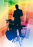 Drum Musician on Abstract Background Stock Photos