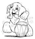 Drum 'n' elephant. Cute elephant is playing drums vector illustration