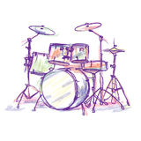Drum pencil drawing Stock Image