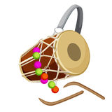 Drum percussion instrument double-headed dhol and wooden sticks vector. Illustration isolated on white. Barrel drum with leather handle and decorated by Royalty Free Stock Photography