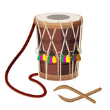 Drum percussion instrument double-headed dhol and wooden sticks vector. Illustration isolated on white. Barrel drum with leather handle and decorated by Stock Photo