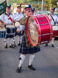 Drum and Pipe Band Celebrate St Patricks Day. A Drum and Pipe Band celebrating St Patricks Day on 17th March in a community street festival on the Costa Blanca Royalty Free Stock Photography