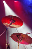 Drum plates on stage Royalty Free Stock Image