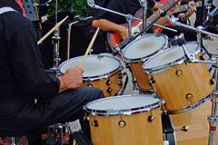 Drum player. Some shots of musical Instruments taken during a jazz band performance Royalty Free Stock Photography
