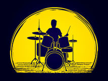 Drum player graphic vector. Royalty Free Stock Photos