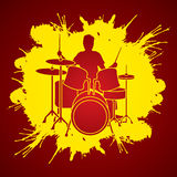 Drum player graphic vector. Royalty Free Stock Image