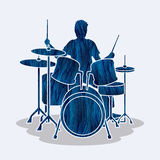 Drum player graphic vector. Royalty Free Stock Images