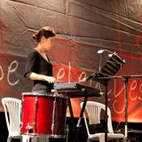 Drum player plays Royalty Free Stock Photo