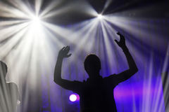 Drum player silhouette on the stage Stock Photos