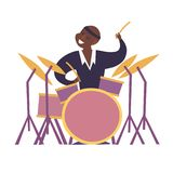 Drum player vector colorful illustration royalty free stock images