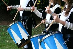 Drum players. Reinascimental drum players during tuscan fair royalty free stock photo