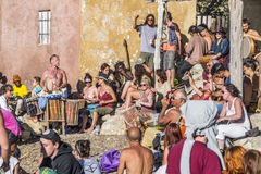 Drum players in Ibiza Royalty Free Stock Photography