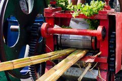 Drum press used to juice sugarcane in India. Rolling drum press used to juice sugarcanes in roadside stalls in India. Many small hawkers use these to sell the Royalty Free Stock Photography