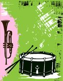 Drum, saxophone music instruments. Vector Royalty Free Stock Photography