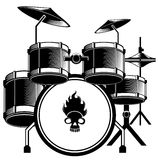 Drum set. Black and white drum set pattern design stock illustration