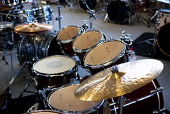 Drum set. With new hardware and cymbals stock images