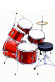 Drum set. Red drums, new hardware and cymbals stock photos
