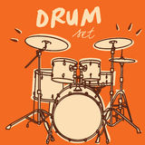 Drum set vector. Illustrations of a drum kit, retro style + vector eps file royalty free illustration