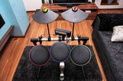 Drum set. Electronic drum set inside a room, wireless console drums stock photos