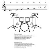 Drum set, Abstract treble clef, notes Vector background Royalty Free Stock Photos
