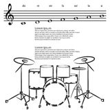 Drum set, Abstract treble clef, notes Vector background Royalty Free Stock Photo