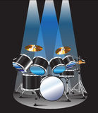 Drum set background blue lighting Royalty Free Stock Photography