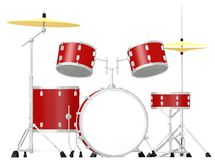 Drum set with bass drum, cymbals, tomtoms, snade d Royalty Free Stock Image
