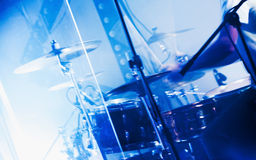 Drum set behind glass wall with cymbals Royalty Free Stock Photos