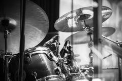 Drum set, black and white Royalty Free Stock Image