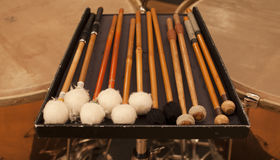 Drum set. Closeup  of mallets Royalty Free Stock Images
