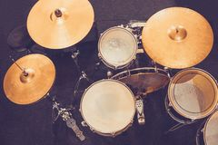 Drum set drums in Studio. Retro style rock music royalty free stock images