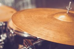Drum set drums in Studio. Retro style rock music stock photography
