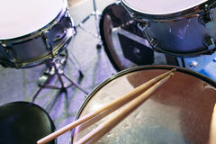 Drum set and drumsticks. Top view Stock Image