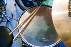 Drum set and drumsticks. Top view Royalty Free Stock Image
