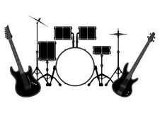 Drum set and electronic guitar Royalty Free Stock Photography