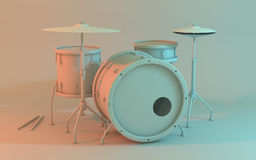 Drum set including snare, tom, bass drum, floor tom, hi hat, cymbals and drumsticks. Royalty Free Stock Image