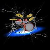 Drum set with lightnings Stock Photos